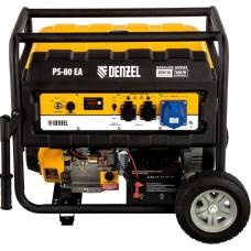 Электрогенератор DENZEL PS 80 EA с электростартером и коннектором автоматики (7.0 кВт / 8.0 кВт)